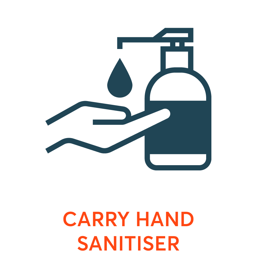 carry hand sanitiser and wash your hands